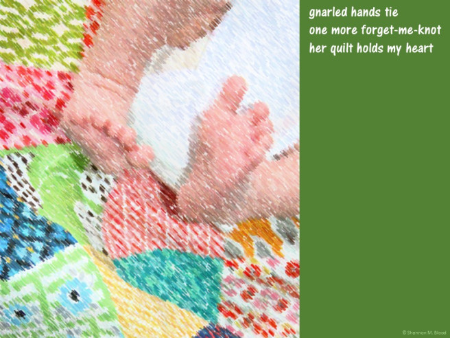 quilt with baby feet