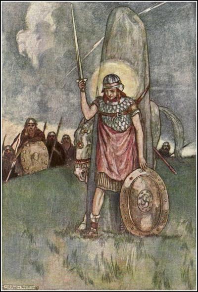 Cuchulainn's_death,_illustration_by_Stephen_Reid_1904