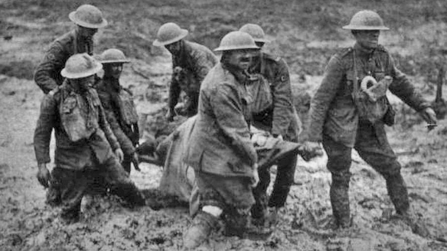 Stretcher bearers struggling through the mud during the battle of Passchendaele in 1917