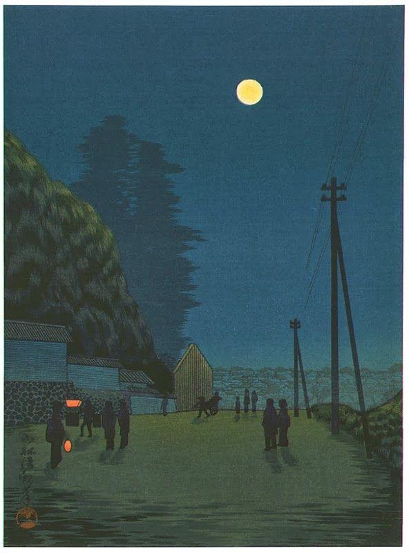 Moon over a Town Street, 1930's, Kobayashi kiyochika _ 小林清親 (1)