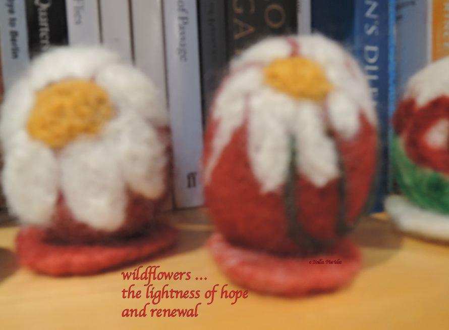 Easter eggs, wildflowers,