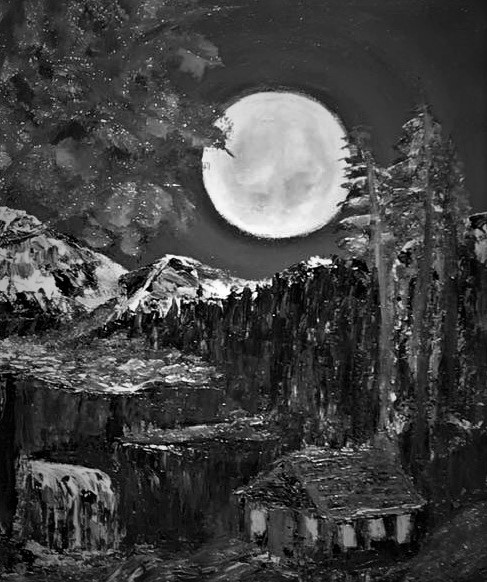 Moonlight River Painting - impasto (4)