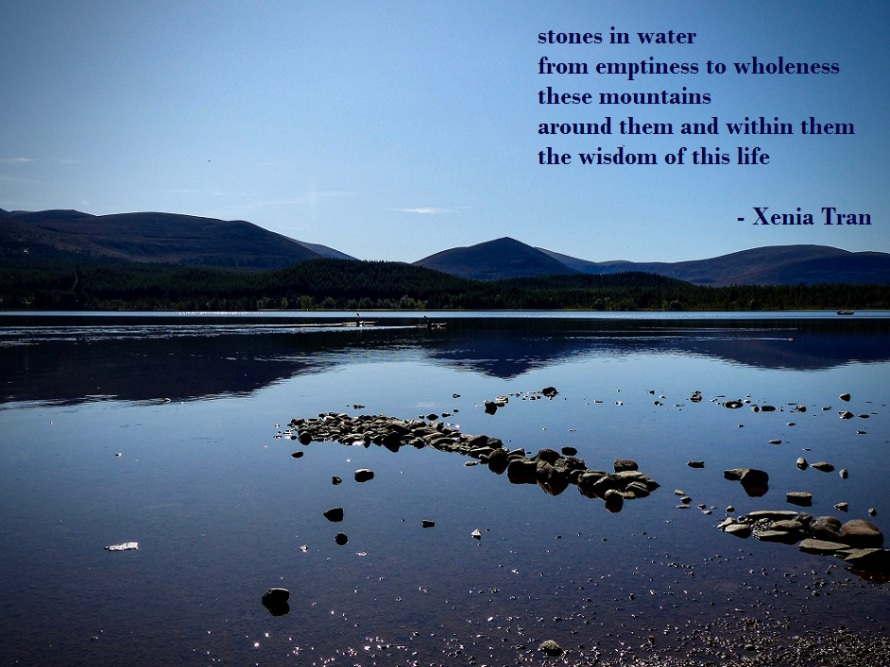 an image of Loch Morlich with a tanka poem by Xenia Tran